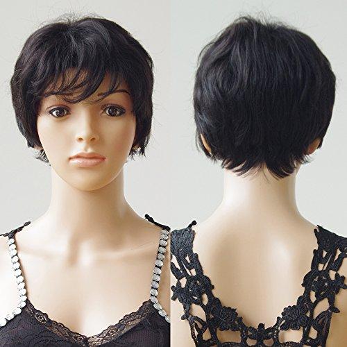 S-noilite ® 100% vera vergine capelli umani parrucca corta riccia cosplay partito giornaliera fancy dress nero naturale