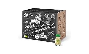 28er Pack Kloster Kitchen Bio IngwerTRINK Shot 30ml, 28x 30ml Ingwer Shot, über 17 Prozent Ingwerstückchen, 28 Shots in EINWEG Glasflaschen, vegan