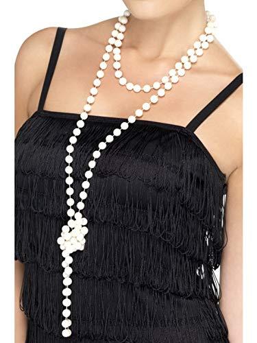 Accessoires Zubehör 180cm Lange Damen Frauen Perlenkette im 60er Jahre Flapper Stil, perfekt für Karneval, Fasching und Fastnacht, Weiß ()