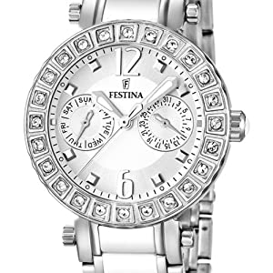 Festina F16587/1 - Reloj analógico de pulsera para mujer (mecanismo de cuarzo, esfera blanca y correa de acero inoxidable blanco) de Festina