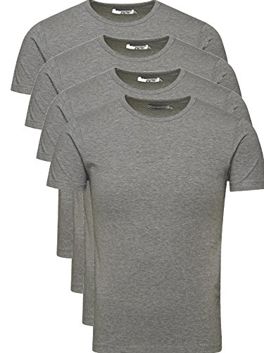 JACK & JONES Herren T-Shirt Basic 4er PACK O-Neck V-Neck Tee S M L XL XXL (L, 4er O-NECK grau)