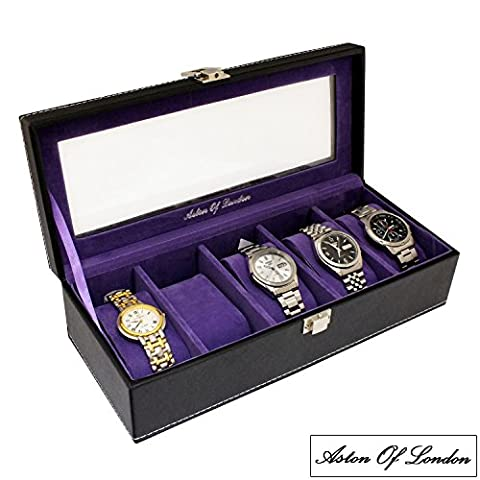 Gents Black PU Leather 5 Watch Storage Case Organiser Box with Purple Interior and Transparent Lid by Aston Of