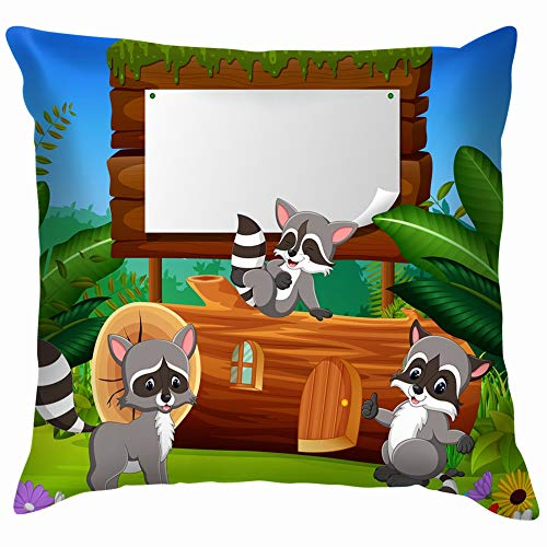 beautiful& Nature Garden View Wooden Animals Wildlife Adorable Cotton Throw Pillow Case Cushion Cover Home Office Decorative, Square 18X18 Inch