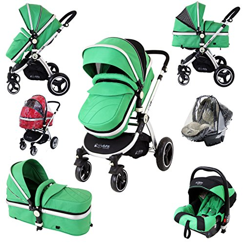 iSafe i-Safe System - Leaf Trio Travel System Pram amp; Luxury Stroller 3 in 1 Complete With Car Seat   Rain Covers