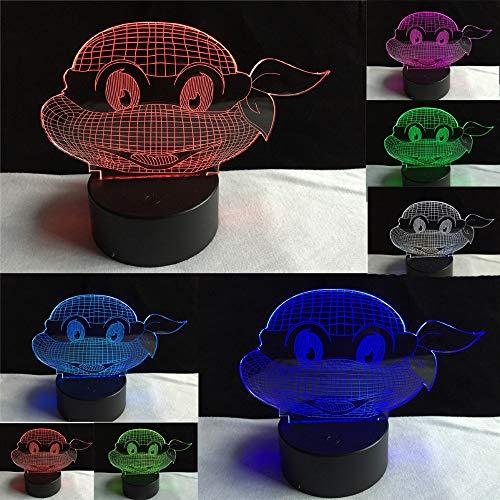 3D Figur Film Teenage Mutant Ninja Turtles 7 Farbe Dimmen Gradienten Optisches Nachtlicht Led Kind Kinder Schlafen Spielzeug Geschenke (Ninja Turtles-farbe)
