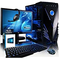 """Vibox Sharp Shooter Package 10W Gaming PC - with Warthunder Game Bundle, Windows 10, 21.5"""" HD Monitor, Gamer Headset, Keyboard & Mouse Set (4GHz AMD FX Eight Core Processor, Nvidia Geforce GTX 960 Graphics Card, 120GB Solid State Drive, 2TB Hard Drive, 16GB RAM, Vibox Tactician Blue LED Case)"""