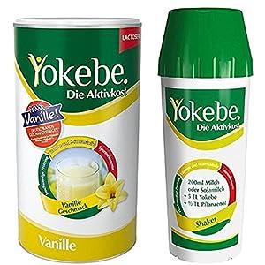 Yokebe Vanille mit Shaker, Diätshake zum Abnehmen, Mahlzeitersatz mit hochwertigen Proteinen, 10 Portionen, 500 g und 1 Shaker