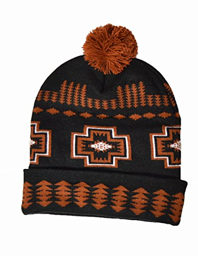 a8a04ff4b Hand crafted Native American Indian pattern bobble beanie hat (Black)