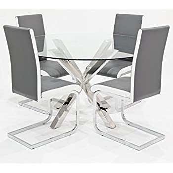 Febland Crossly Round Glass Top Table With 4 Grey Brescia Dining Chairs,  Metal, Chrome Part 93