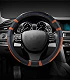 Car Steering Wheel Cover Real Kopfschichthaut alle Jahreszeiten universelle Größe für Durchmesser Lenkrad: 37-39 cm (14,5-15,3 Zoll) Lenkräder Fit für kleine Car/SUV etc,Yellow,38cm
