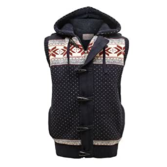 PARADIS COUTURE MENS BRAVE SOUL FAIR ISLE SNOW FLAKE PRINT KNITTED CARDIGAN NAVY SIZE S