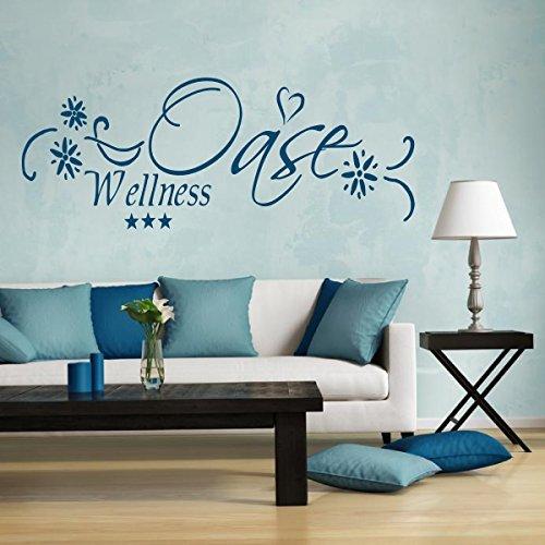 Türaufkleber Wandtattoo Wellness Oase fürs Badezimmer WC 72021-58×20 cm, Beschriftung, Wandaufkleber Aufkleber für die Wand, Tapetensticker aus Markenfolie, 32 Farben wählbar
