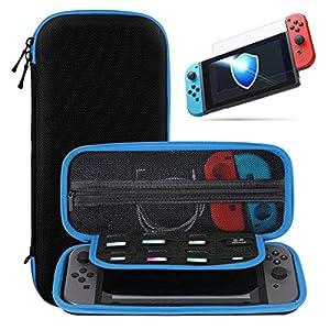 SHareconn Tasche Kompatibel für Nintendo Switch, Mit Displayschutzfolie Glas, 8 Spiele Speicherplatz, Hartschalen Reise Hülle für die Nintendo Switch Konsole und Accesoires, Schwarz&Blau