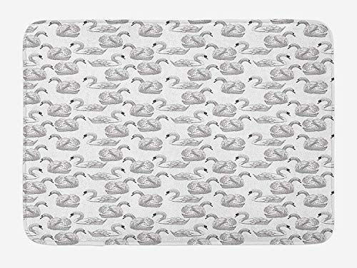 Swan Bath Mat, Sketch Art Pattern of Swimming Waterfowls Symbols of Gentility Grace and Romance, Plush Bathroom Decor Mat with Non Slip Backing, 15.7X23.6 inch, Black White