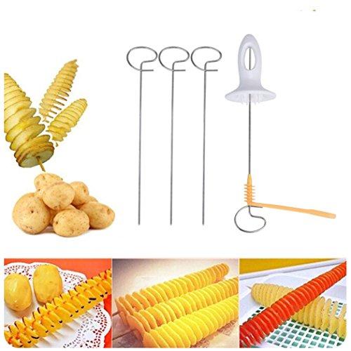 Slicer Patata,Switchali Tornado Patata Espiral Cortador Slicer Papas fritas 4 Escupir Torre Fabricación Twist Shredder pelador Herramienta de cocina