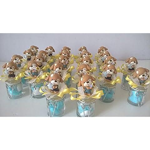 12 barattolini vetro bomboniere con cagnolino guido bau bomboniere battesimo comunione