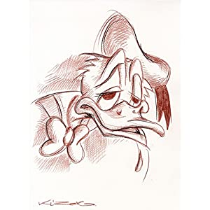 Original Rötelzeichnung auf Zeichenkarton: Donald Duck/ 24x32 cm