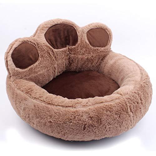 LA VIE Hianiquaime Cosy Plüsch Hundesofa Weich Warm Katzenbettchen Süß Hundebett Kissen Haustiersofa Rund Katzenkissen Form der Pfote für Kleine Mittel Katzen Welpen Hunde Kaninchen Braun L -