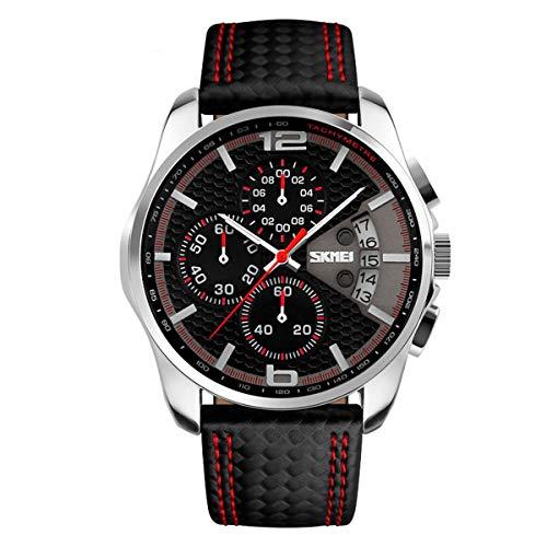 Mode Sport Herrenuhren - Luxus Leder Armband Sub-Dials Chronograph Stoppuhr Kalender Datum 30M Wasserdicht Quarzuhr Armbanduhren für Männer, Rot (12 Sub Flache)