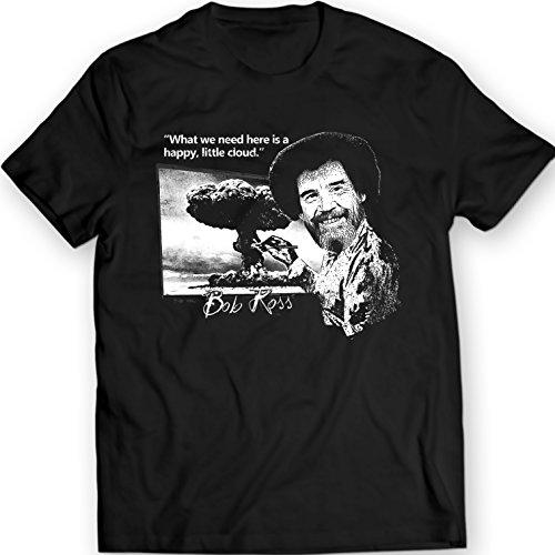 Bob Ross Lustiges Zitat-T-Shirt Glückliche Kleine Tatsach (XXL, Schwarz)