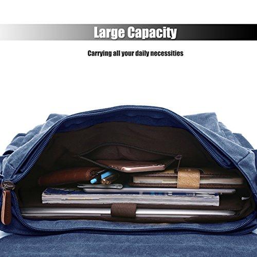 LOSMILE Uomo Tela Borse a spalla Borsa a Tracolla Borse Messenger Borsa di Tela Messenger bag Laptop Borsa. (Nero) Blu