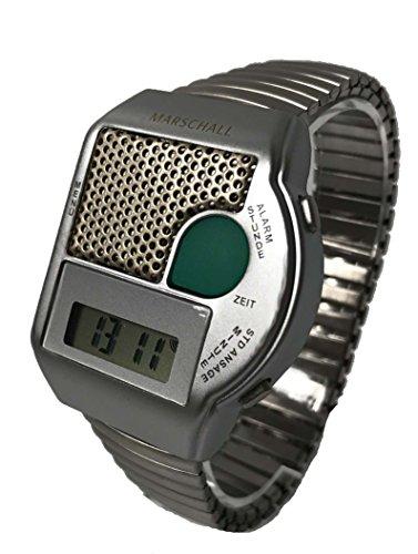 sprechende Armbanduhr , Blindenuhr mit Edelstahlflexarmband