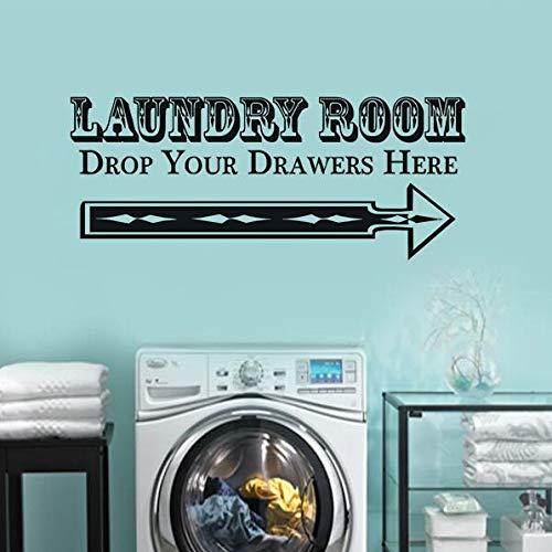 WWYJN Vinyl Wandaufkleber Waschküche Dekor Lassen Sie Ihre Schubladen Zitat Vinyl Wandtattoo Waschküche Zeichen Wandbild102x42 cm