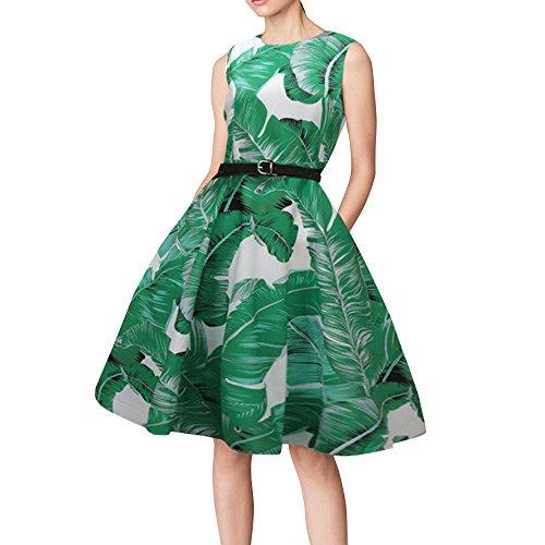 MISSWongg Damen Hepburn Kleid in Einem Retro Kleid Rockabilly Kleid Festliches Kleid Petticoat Kleid Swing Kleider