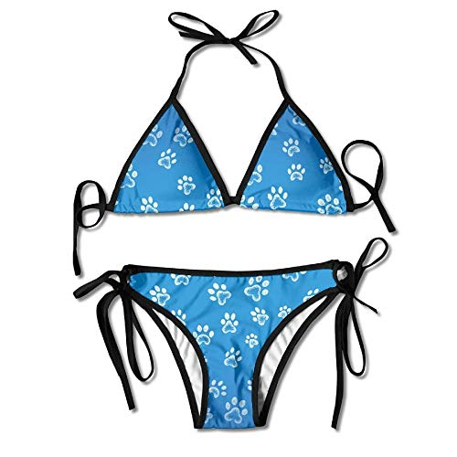 Women's Colorful Adjustable Blue Dog Paws Sexy Bikini Set 2 Piece