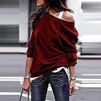 LILICAT® Top Tallas Grandes Mujer Camiseta de Manga Larga con Cuello en V Sólido Blusa de un Solo Hombro Moda (Vino, Negro, Verde, Blanco, S, M, L, XL)