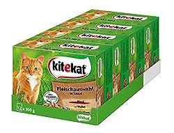 Kitekat Katzenfutter Nassfutter Adult für erwachsene Katzen Fleischauswahl in Sauce, 48 Portionsbeutel (4 x 12 x 100g)