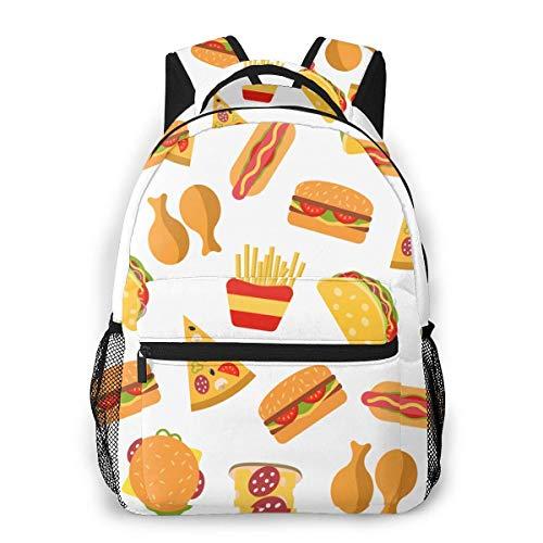VstiSsxhdai French Fried Hamburger Pizza Food Backpack Pattern Printed Bookbag Book Back Mini Laptop Bag School Travel Hiking