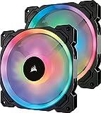 Corsair LL140 RGB PWM PC-Gehäuselüfter (140mm, 2 separate Lichtschleifen, mit Lighting Node und Hub, Double Pack) schwarz