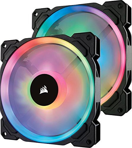 Corsair LL140 RGB LED PWM PC-Gehäuselüfter (140mm Dual Licht Loop RGB LED, Zweierpack mit Lighting Node PRO) schwarz (Lüfter 140)