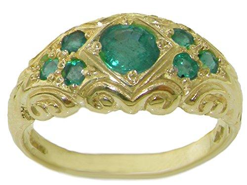 Luxus Damen Ring Solide 14 Karat (585) Gelbgold mit Smaragd - Verfügbare Größen : 47 bis 68