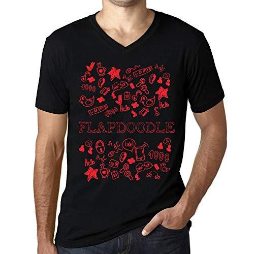 Flapdoodles Rock (Herren Tee Männer Vintage V-Ausschnitt T shirt Doodle Art FLAPDOODLE Noir Schwarz Roter Text)
