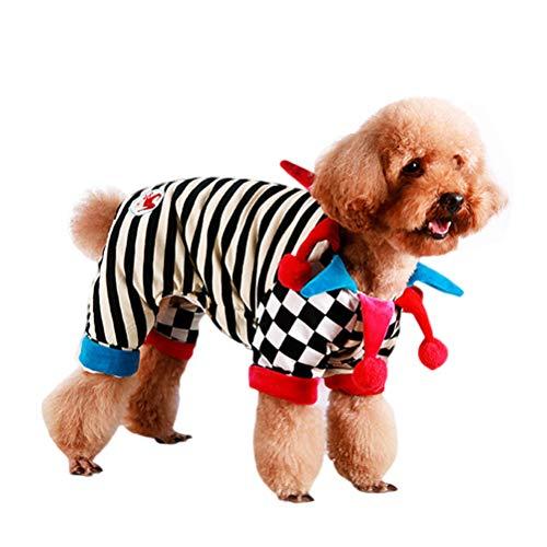 POPETPOP Clown Hundekostüm-Fancy Rüschen Hundehalsbänder Haustier Kostüm für Halloween Cosplay Party, Zirkus Haustier Kostüm für Welpen wie Chihuahua, Yorkie, Malteser, Pommern - Größe (Rüschen Party Clown Kostüm)