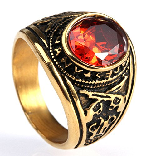 Männer Titan Stahl Double Gun Intarsien Rubin Amerikanischen Soldaten Ringe,Größe 65(20.7) (Rubin-gold-ring Für Männer)
