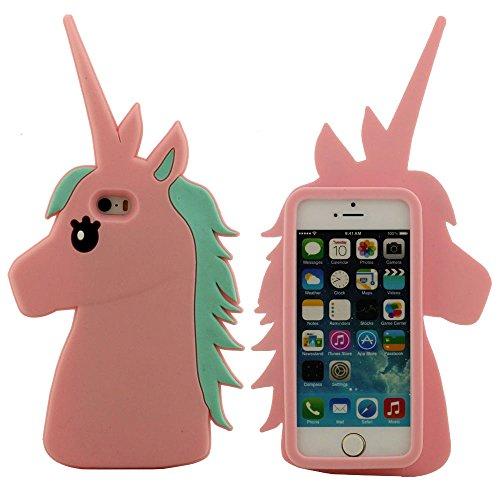 Case Cover für iPhone 5 5S 5C 5G - Schwarz, Schutzhülle iPhone SE Hülle, Weiche Silikon-Gel-Stil Schön 3D Pferd Entwurf Pink