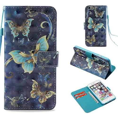 Firefish iPhone 6S Schutzhülle, 3D-Druck PU Leder Flip Folio Staub Proof Kreditkarte Halter Inneren Weich Bumper Handschlaufe Leicht Schutzhülle Apple iPhone 6S Blau (Tie Vogel Clip)