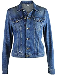 Famous Store Ladies Womens Girls Semi Fitted Blue Stretch Denim Jacket 4-16