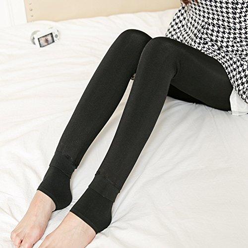 Plus d'hiver chaud épais velours Vêtements d'extérieur de l'axe de l'un, un jeu de sous-vêtements pantalons serrés Black