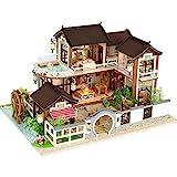 S_LLSL_ Casa de muñecas de Bricolaje Casa de Campo, Muebles artesanales de Bricolaje casa de Montaje Cubierta de Polvo Regalo de cumpleaños Creativo (Arquitectura Antigua China)