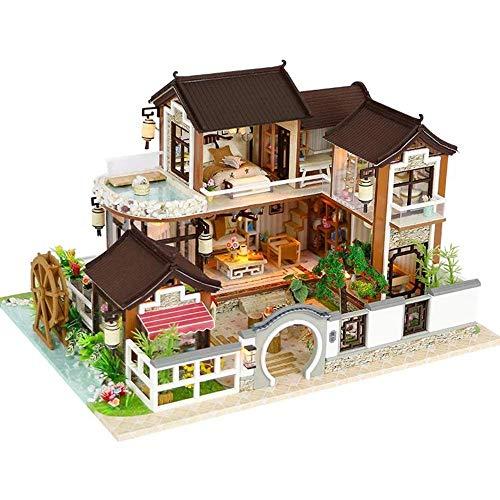 UNU_YAN Casa de muñecas de bricolaje Casa de campo, muebles...