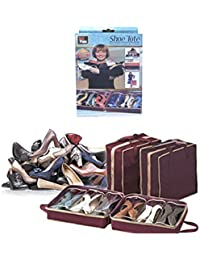 J GO Shoe Tote Bag - Portable Non-Woven Folding 6 Pair Shoes Organizer Storage Bags Travel Tote Zipper Pouch Organizer...