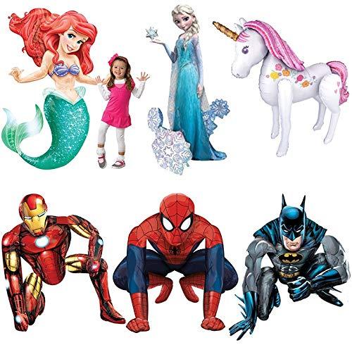 Tyro 1 Stück 134,3 cm 3D Spiderman Folienballon Prinzessin Meerjungfrau Einhorn Ballon Kinder Geburtstag Geschenk Mylar Hero Helium Ball Iron Man Globos