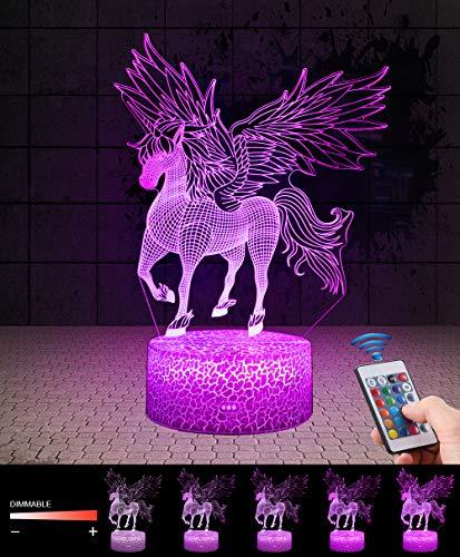 3D Einhorn Lampe LED Nachtlicht mit Fernbedienung, QiLiTd 7 Farben Wählbar Dimmbare Touch Schalter...