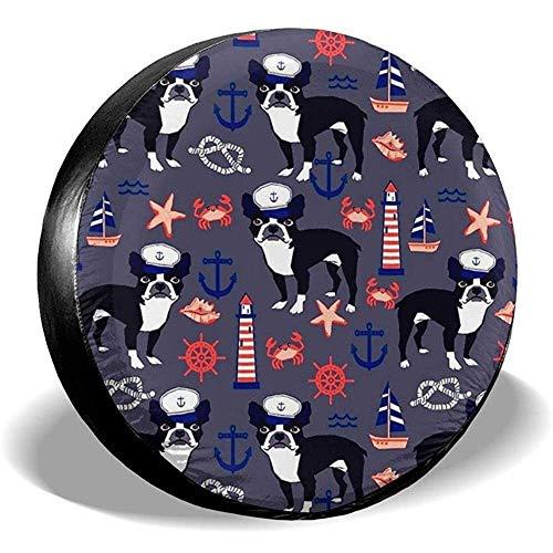 Hiram Cotton Spare Tire Cover Boston Terrier Seaman Pattern Ruota di Scorta Copertura dei Pneumatici Fuoristrada velocità Estrema Overdrive Univers