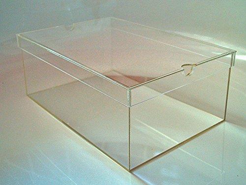 Schuhbox / Display Box mit Deckel für Sammler aus Acryl Glas, Aufbewahrungsbox, Sammelbox, Stapelbox, Groß, Transparent (ca. 13x22x33 cm) (33% Acryl)