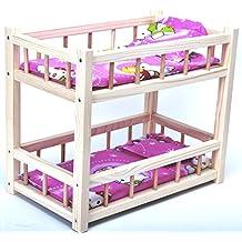 Direct Global Litera de Madera para muñecas con colchones y Almohadas / Juguetes de Madera /